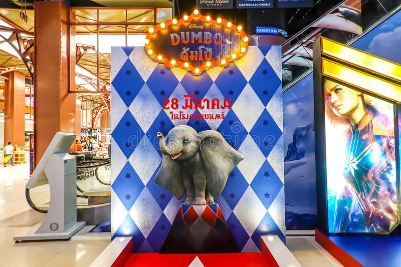A beautiful standee cardboard of a movie called Dumbo display at the cinema to promote the movie. Bangkok, Thailand - March 24, 2019:: A beautiful standee stock image
