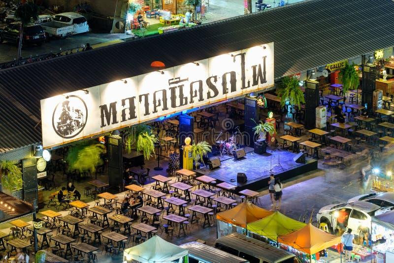 Night market train a second-hand market, back of Esplanade Ratchadapisek Department store. Bangkok, Thailand - March 28, 2016: Night market train a second-hand royalty free stock image