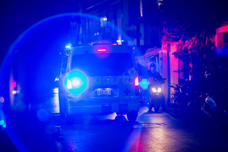 Bangkok Thailand : March 15, 2019 : noise on image of Emergency lighting on ambulances. In Soi Narathiwat Ratchanakarin 6 , Sathorn District, Bangkok, Thailand stock photography