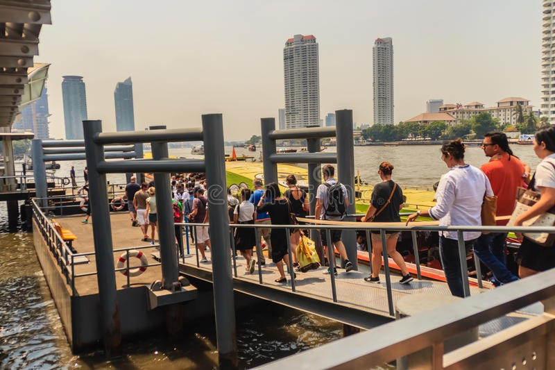 Bangkok, Thailand - March 2, 2017: Passengers at Sathorn pier, a royalty free stock images