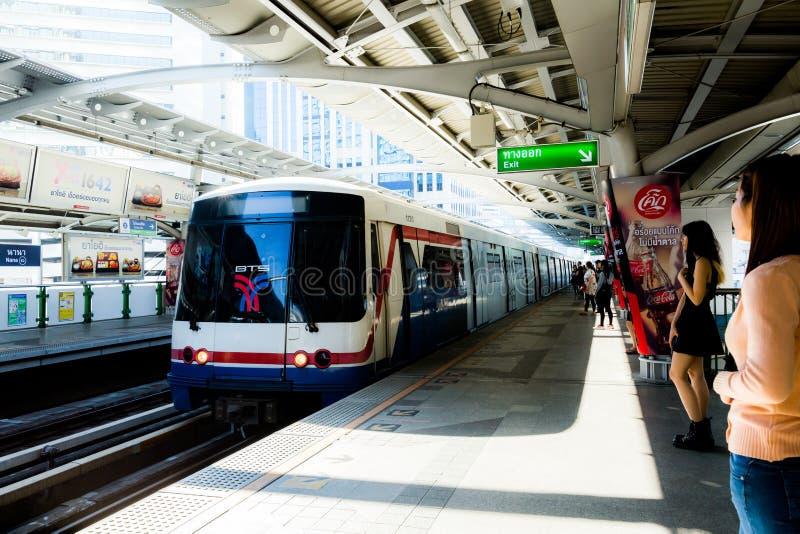 Bangkok / Thailand - March 17 2018: Passengers waiting at BTS Nana Station in Bangkok stock images