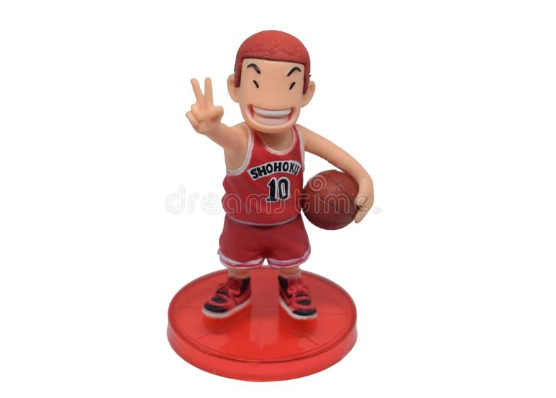 Bangkok, Thailand - March 6, 2019: Sakuragi Hanamichi basketball player Shohoku team toy character from Slam Dunk films by Toei An. Imation studio stock images
