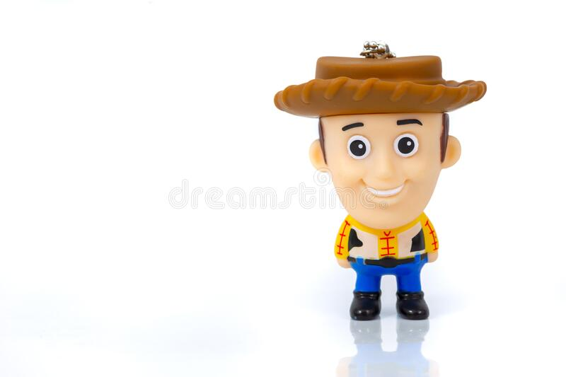 Bangkok, Thailand - March 27, 2016 : A studio shot of the Disney Infinity character Woody from the movie Toy Story stock image