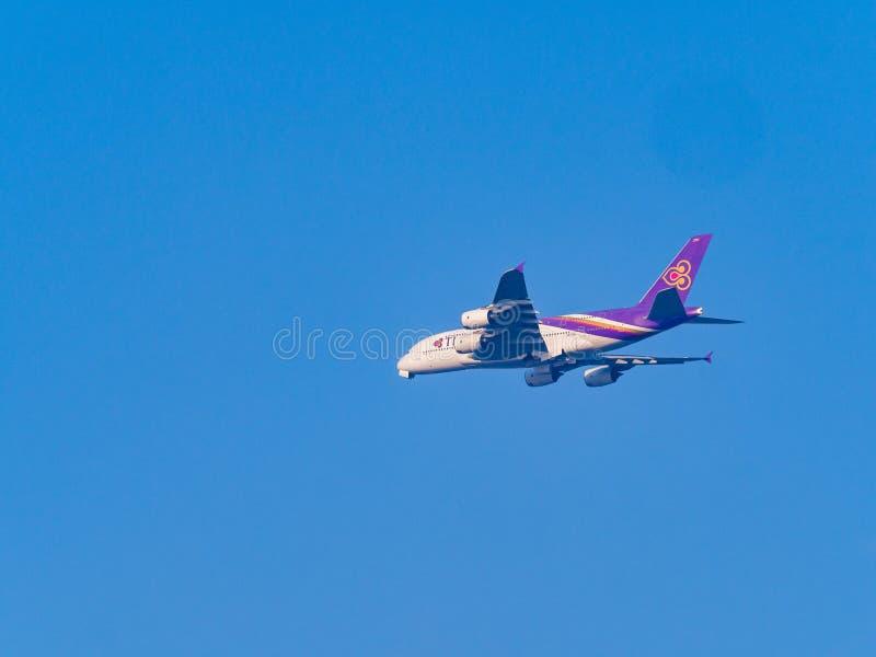 Thai Airways Airline Airbus A380-841 from London to Bangkok at Suvarnabhumi International Airport. stock image