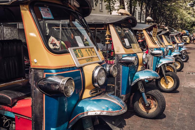 Tuk tuk taxi on Kaosan road in Bangkok. royalty free stock image