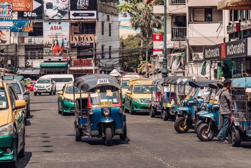 Tuk tuk taxi on Kaosan road in Bangkok. royalty free stock photography
