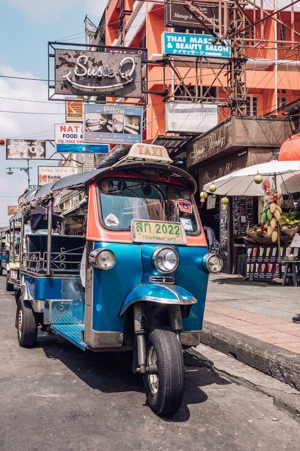 Tuk tuk taxi on Kaosan road in Bangkok. royalty free stock photo