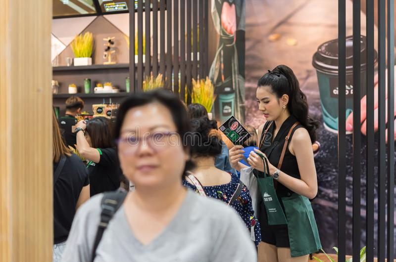 Model pretty lady on display food exibition event. Bangkok, Thailand - March 16, 2019 : Unidentified model pretty lady on display food exibition show event. This royalty free stock image