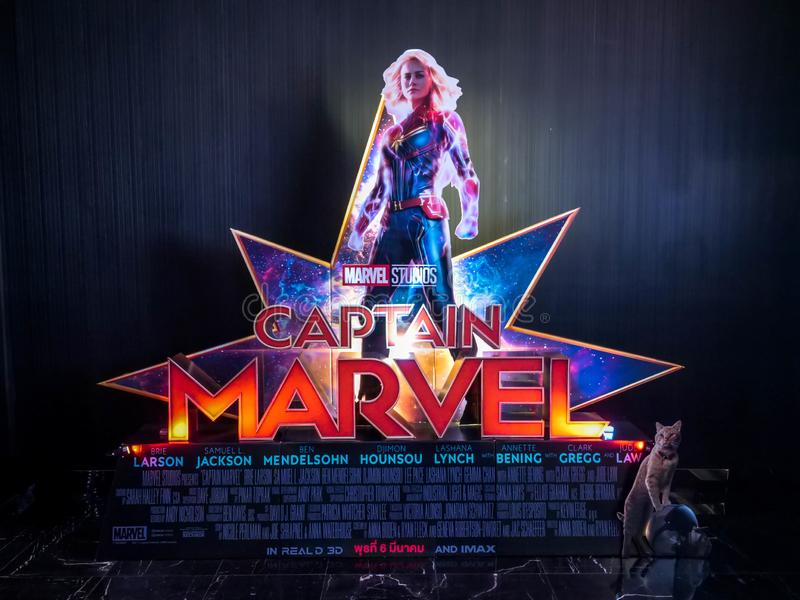 Bangkok, Thailand - March 4, 2019:: View of standee Captain Marve or Carol Danvers stars by Brie Larson displays showing at cinema stock photos