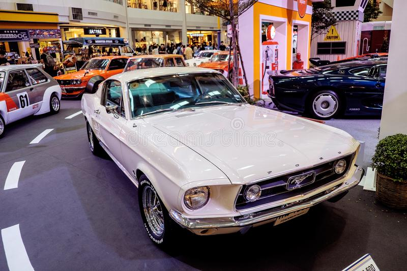 BANGKOK, THAILAND, - MARCH 11 2018: A vintage car Ford Mustang Shelby GT 500 was shown in a classic motor show at Seacon Square royalty free stock image