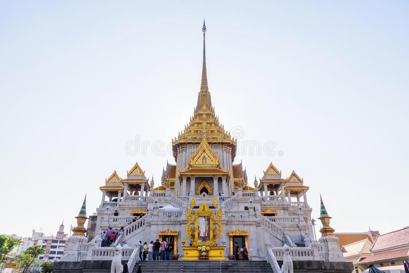Wat Traimitr Withayaram in sunset time royalty free stock photography