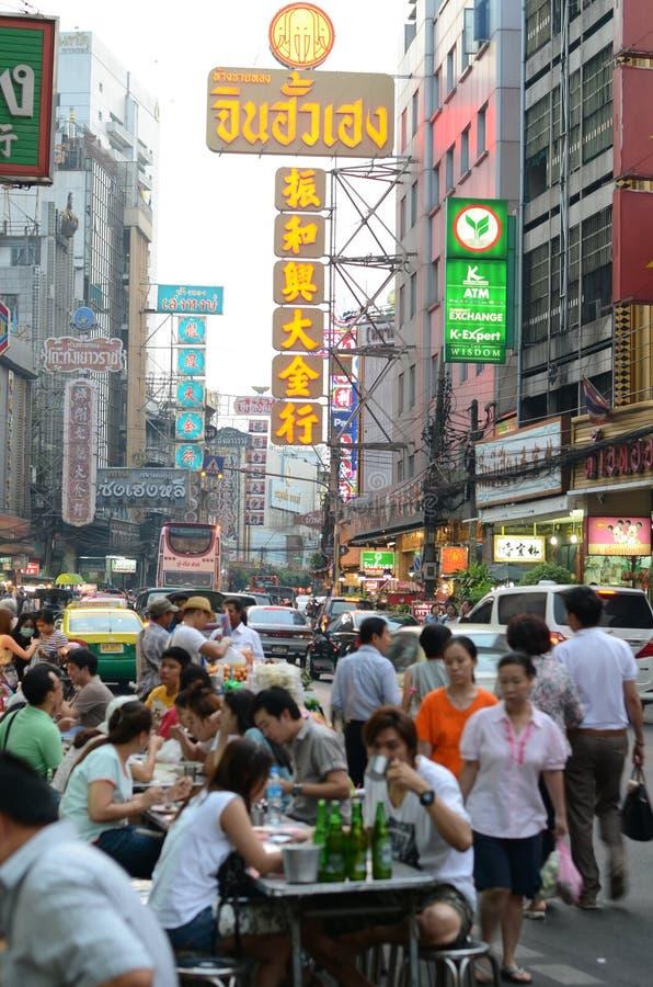 BANGKOK, THAILAND - MARCH 26: Yaowarat Road, the main street in royalty free stock image