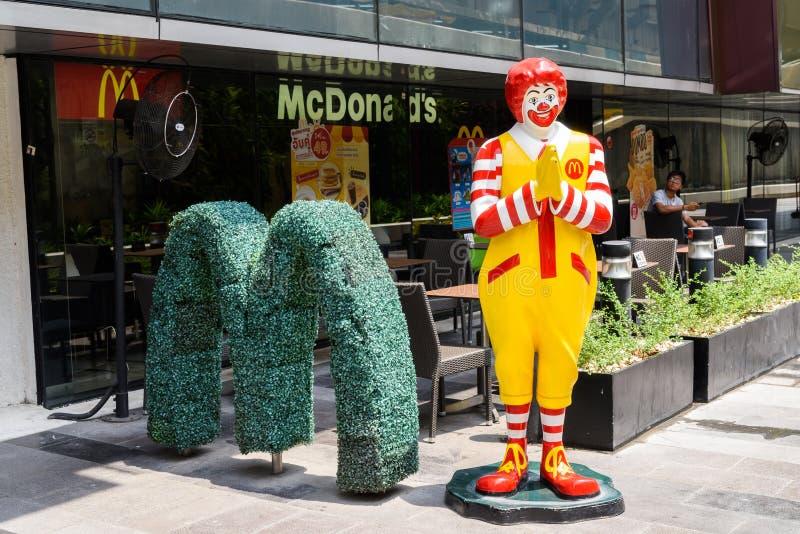 BANGKOK THAILAND MARS 25, 2017: Ronald McDonald som gör traen arkivbild