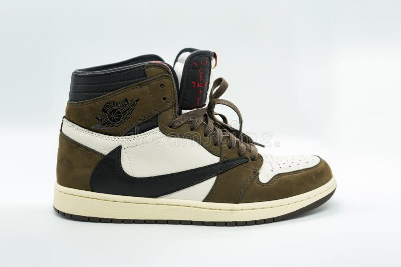 Bangkok, Thailand - May 11 2019: Air Jordan 1 Retro High OG x Travis Scott in Mocha colorway. Bangkok, Thailand - May 11 2019: Nike Air Jordan 1 Retro High OG x stock photo