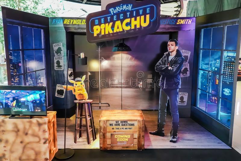 A beautiful standee of a movie called Pokémon Detective Pikachu display showing at cinema. Bangkok, Thailand - May 4, 2019: A beautiful standee of a movie stock photos