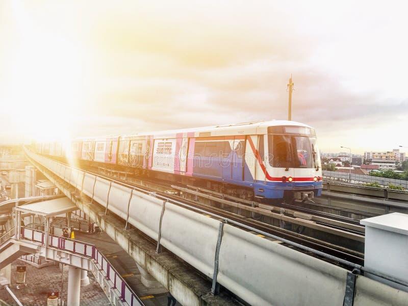 Skytrain. Bangkok , Thailand - MAY 1, 2018 : BTS Sky train mass transit system in Bangkok. The main BTS line connects the stations around Bangkok. The Bangkok royalty free stock images