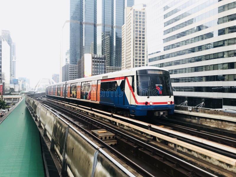 Skytrain. Bangkok , Thailand - MAY 1, 2018 : BTS Sky train mass transit system in Bangkok. The main BTS line connects the stations around Bangkok. The Bangkok stock image