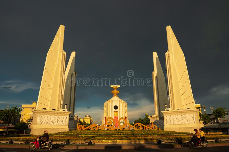 Bangkok, Thailand - May 3, 2019 : The Democracy Monument Anusawari Prachathipatai. It was started in 1939 to commemorate the royalty free stock photography