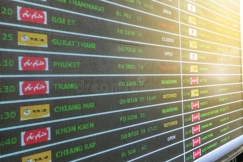 Bangkok, Thailand - May 1, 2019: Flight arrival departure schedule digital time table board. At airport royalty free stock photos