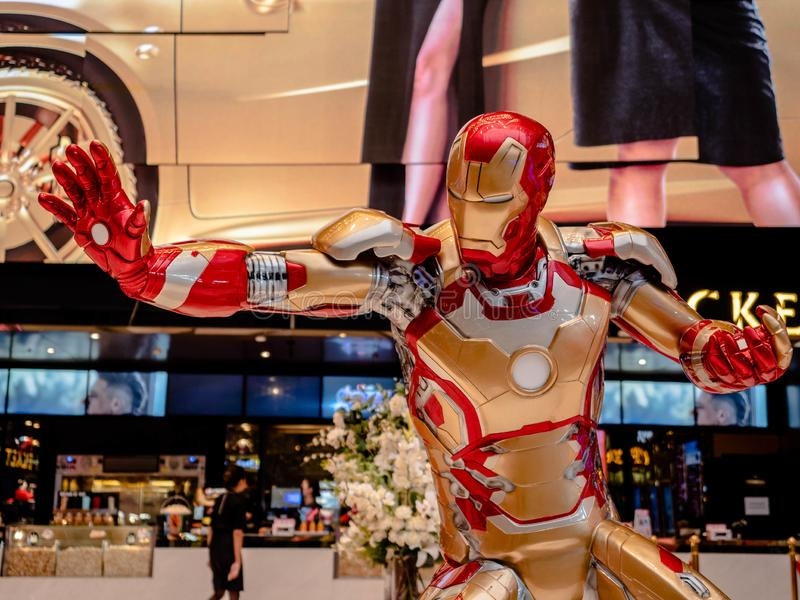 Bangkok, Thailand - May 7, 2019: Iron Man model show in Avengers Endgame exhibition booth at iconsiam, Iron Man is a fictional stock images