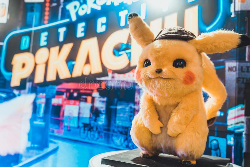 Bangkok, Thailand - May 2, 2019: Pikachu doll display by Pokemon Detective Pikachu animation movie backdrop in movie theatre. Cartoon comic character, or stock image