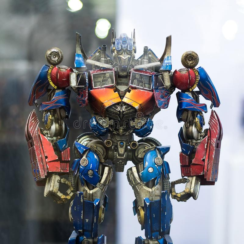 Bangkok, Thailand - May 6, 2017 : portrait shot of Transformers Optimus Prime on display at Central World, Bangkok Thailand. royalty free stock photos