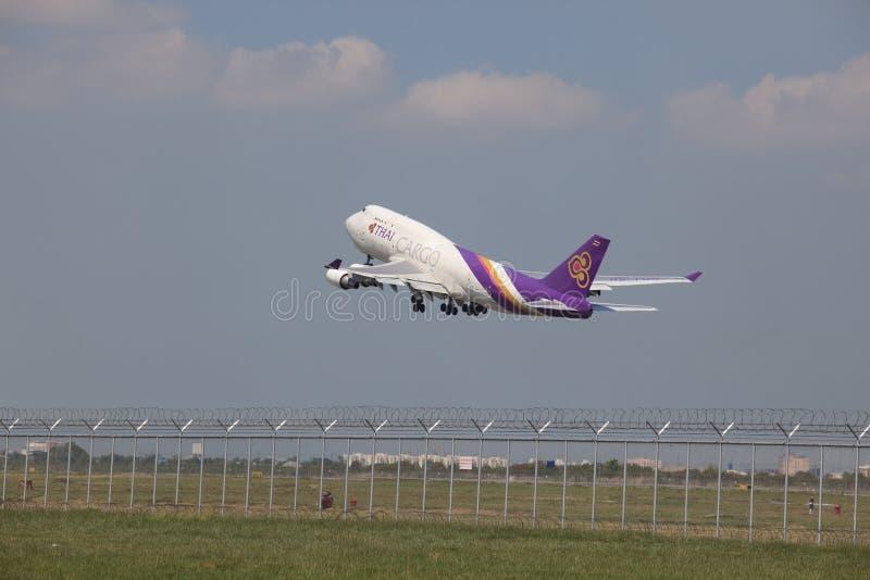BANGKOK THAILAND - May31 - thai airway cargo plane take off from. Runways at suvarnabhumi international air port on May31,2014 in Bangkok, Thailand stock image