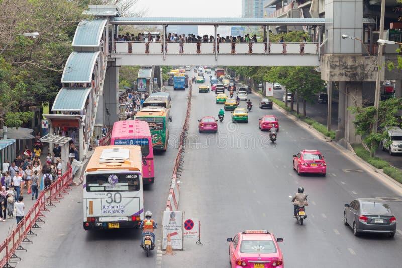 Bangkok Thailand - May 07 2016: Traffic jam on chatuchak Road at. Chatuchak market in bangkok, thailand. traffic jam is one of worse issue of Bangkok royalty free stock photography