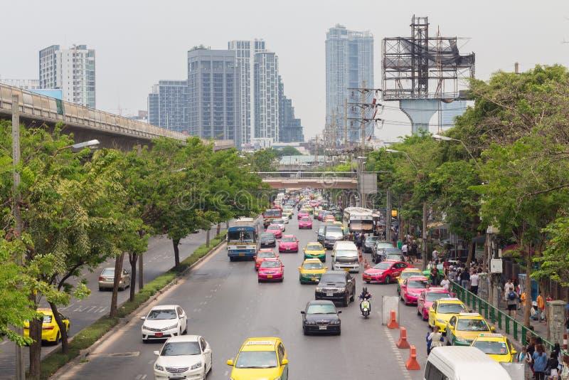 Bangkok Thailand - May 07 2016: Traffic jam on chatuchak Road at. Chatuchak market in bangkok, thailand. traffic jam is one of worse issue of Bangkok stock photos