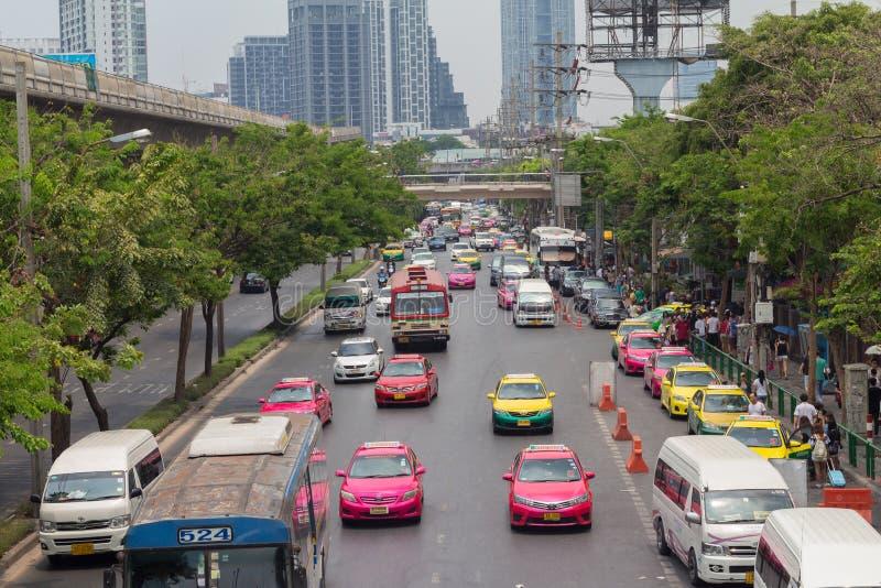 Bangkok Thailand - May 07 2016: Traffic jam on chatuchak Road at. Chatuchak market in bangkok, thailand. traffic jam is one of worse issue of Bangkok royalty free stock photo