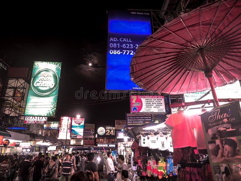 BANGKOK, THAILAND - 9 MAY 2017: A view along Khaosan Road in Bangkok at night. The most popular tourist attraction in Bangkok royalty free stock image