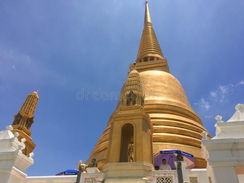Bangkok ,Thailand  May 14, 2019: Wat Bowonniwet Vihara.The hightlights of the temple are Uposatha Hall, the Main Gateway, The Red royalty free stock image