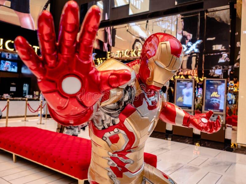 Bangkok, Thailand - Mei 7, 2019: Iron Man-het model toont in de tentoonstellingscabine van Wrekersendgame bij iconsiam, is Iron M stock foto's