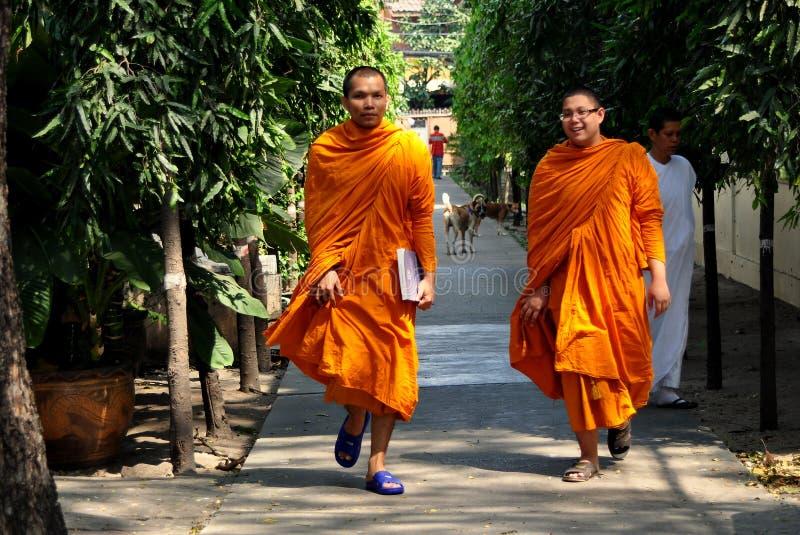 Bangkok, Thailand: Monks at Thai Wat stock photo