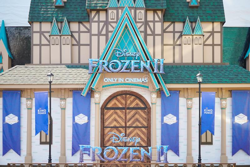 Bangkok, Thailand - Nov 16, 2019 : A photo of Frozen II castle backdrop to promote movie animation in theatre Nov 21, 2019 at King. Power, Rangnam. Magical stock image