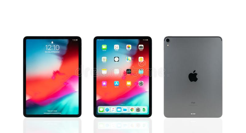 Bangkok, Thailand - Nov 24, 2018: Studio shot of new Apple iPad pro 2018 space gray color royalty free stock image
