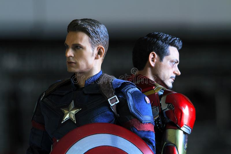 Close up shot of Captain America and Ironman ,Civil War. BANGKOK THAILAND - NOVEMBER 21,2018 : Close up shot of Captain America and Ironman ,Civil War superheros stock photos