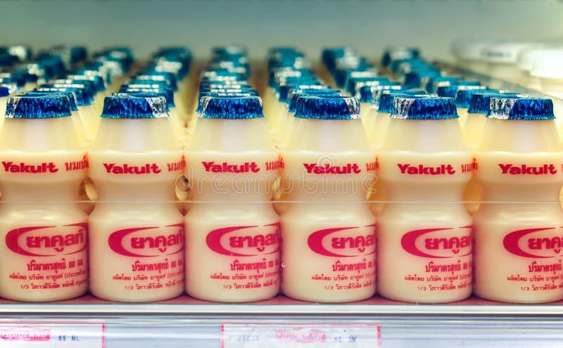 BANGKOK, THAILAND - NOVEMBER 28: Foodland supermarket fully stocks Yakult yogurt drinks in the refrigerated section in Bangkok on. Novermber 26, 2017. Yakult is stock photos