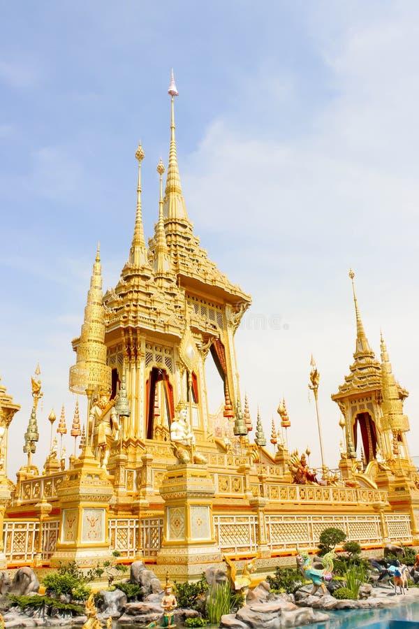 Bangkok, Thailand - November 04, 2017; The Gold Beautiful of some supplementary structures around Royal Crematorium at November 0. 4, 2017 stock photo