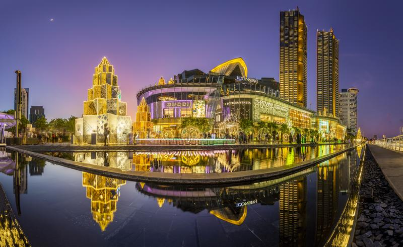 Bangkok, Thailand - December 2, 2019 : Grand opening IconSiam beautiful light show 2019. royalty free stock photography
