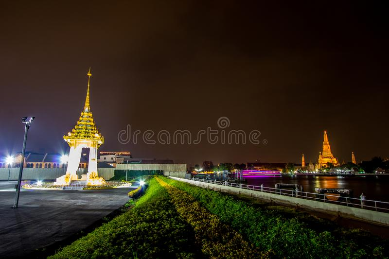 Bangkok,Thailand on November13,2017:Night scene of Replica of the Royal Crematorium for the Royal Cremation of His Majesty King Bh. The Government has assigned stock image