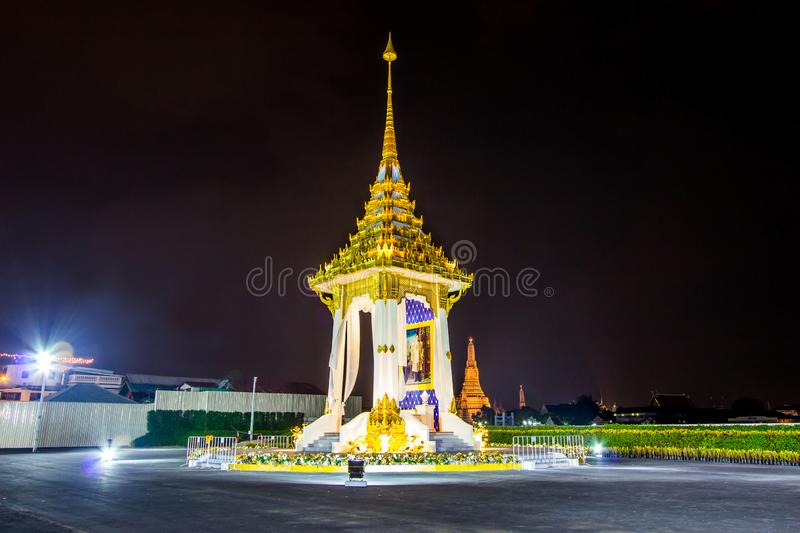 Bangkok,Thailand on November13,2017:Night scene of Replica of the Royal Crematorium for the Royal Cremation of His Majesty King Bh. The Government has assigned stock photo