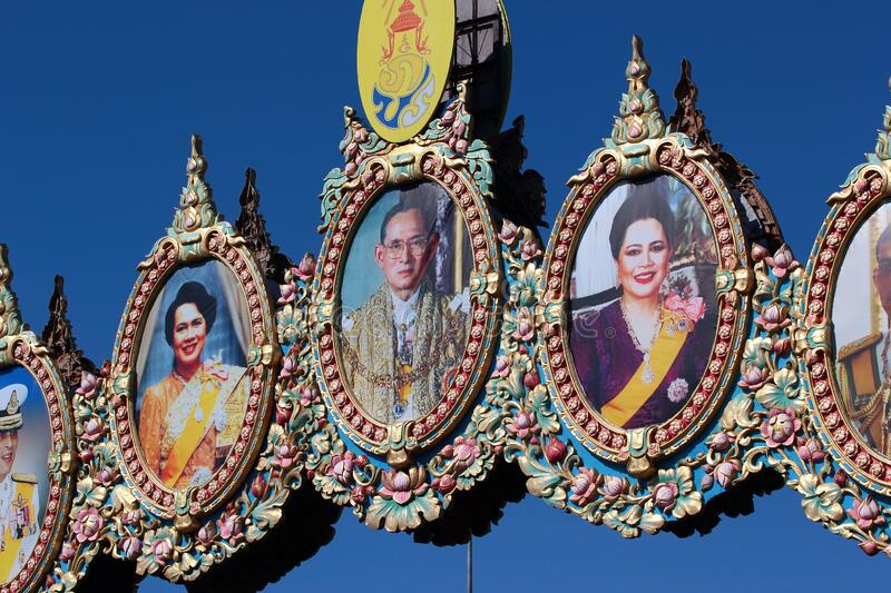 Portraits of the royal family in front of the Dusit Palace in Bangkok, Thailand. Bangkok, Thailand - November 30, 2019: Portraits of the royal family in front of royalty free stock images