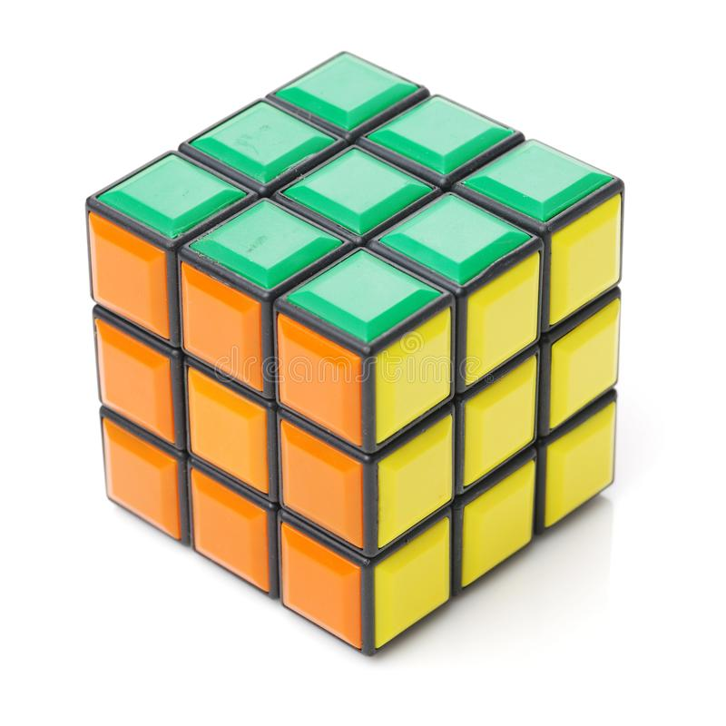 Bangkok, Thailand - November 11, 2017: Rubik`s cube 44 is difficult for play but good for brain. On a white background. Rubik`s Cube invented by a Hungarian stock photo