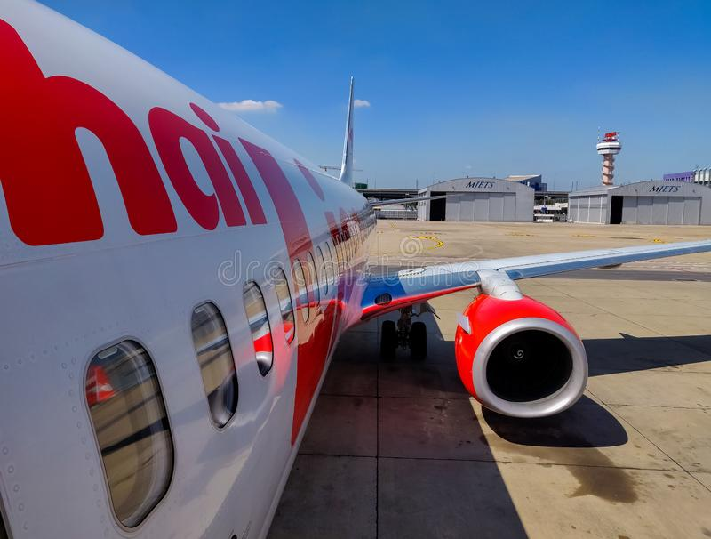 Bangkok, Thailand - November 30 2019: Thai Lion Airway preparing for take off.  royalty free stock images
