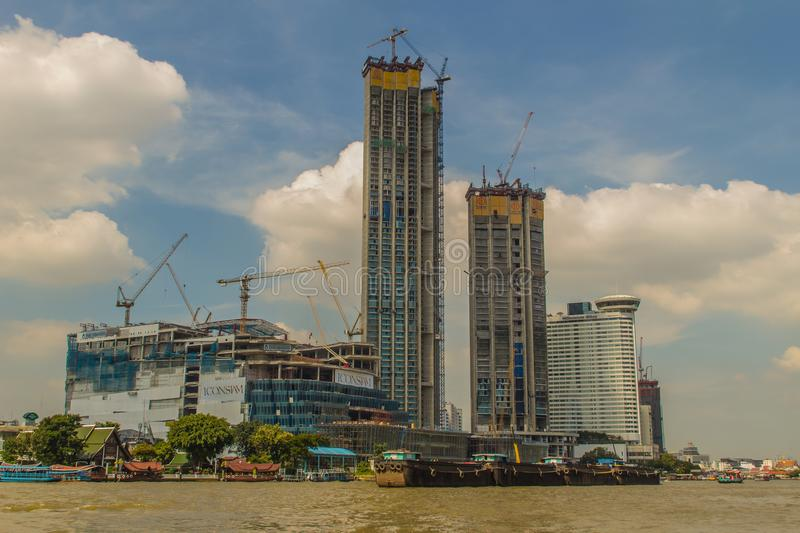 Under construction of ICONSIAM project, a future mixed-use development on the banks of the Chao Phraya River in Bangkok, Thailand stock photography