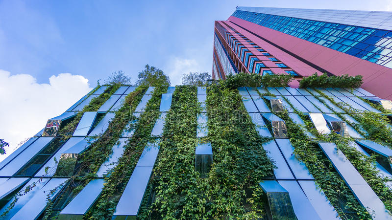 Bangkok, Thailand - 22. November 2015: Vertikaler Garten von Wyne Sukhumvit (das Spitzenkondominium) an der Sukhumvit-Stadtmitte stockfotos