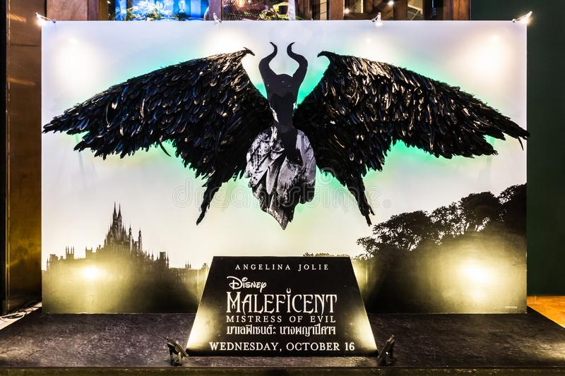 Bangkok, Thailand - Oct 1, 2019: Maleficent: Mistress of Evil movie poster backdrop display in cinema theatre. Movie advertisement or film entertainment royalty free stock image