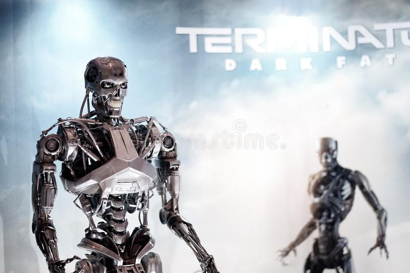 Bangkok, Thailand - Oct 23, 2019 : A photo of Cyborg assassin from Terminator Dark fate 2019 movie standee to promote the movie. In theatre 23 Oct, 2019 royalty free stock photography