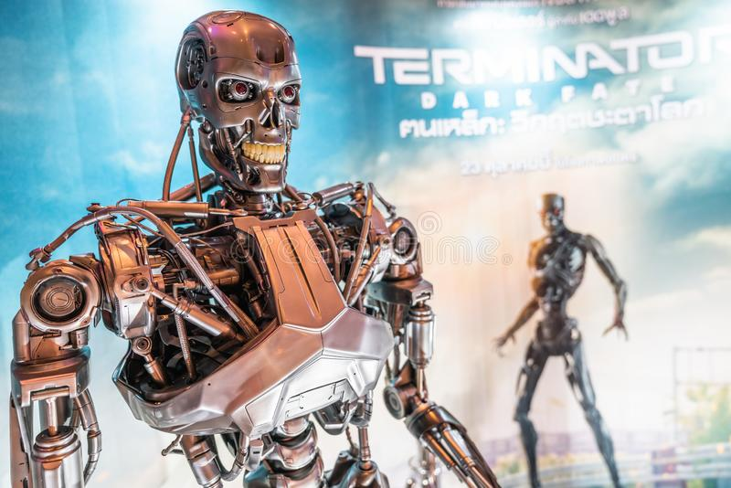 Bangkok, Thailand - Oct 25, 2019: Terminator dark Fate movie advertisement backdrop booth with T-800 robot machine model statue stock photography